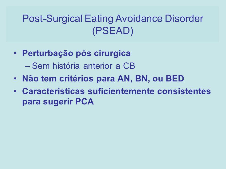 Perturbação pós cirurgica –Sem história anterior a CB Não tem critérios para AN, BN, ou BED Características suficientemente consistentes para sugerir