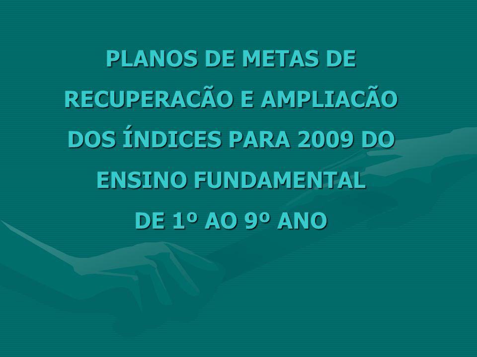 PLANOS DE METAS DE RECUPERACÃO E AMPLIACÃO DOS ÍNDICES PARA 2009 DO ENSINO FUNDAMENTAL DE 1º AO 9º ANO