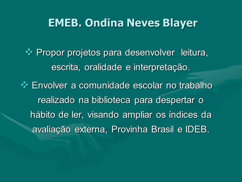 EMEB. Ondina Neves Blayer Propor projetos para desenvolver leitura, escrita, oralidade e interpretação. Propor projetos para desenvolver leitura, escr
