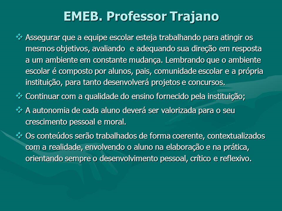 EMEB. Professor Trajano Assegurar que a equipe escolar esteja trabalhando para atingir os mesmos objetivos, avaliando e adequando sua direção em respo