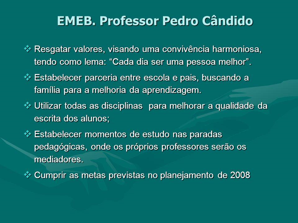 EMEB. Professor Pedro Cândido Resgatar valores, visando uma convivência harmoniosa, tendo como lema: Cada dia ser uma pessoa melhor. Resgatar valores,