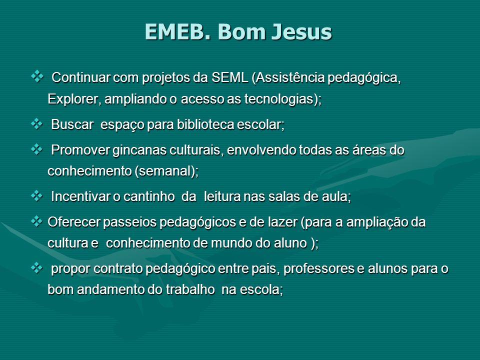 EMEB. Bom Jesus Continuar com projetos da SEML (Assistência pedagógica, Explorer, ampliando o acesso as tecnologias); Continuar com projetos da SEML (