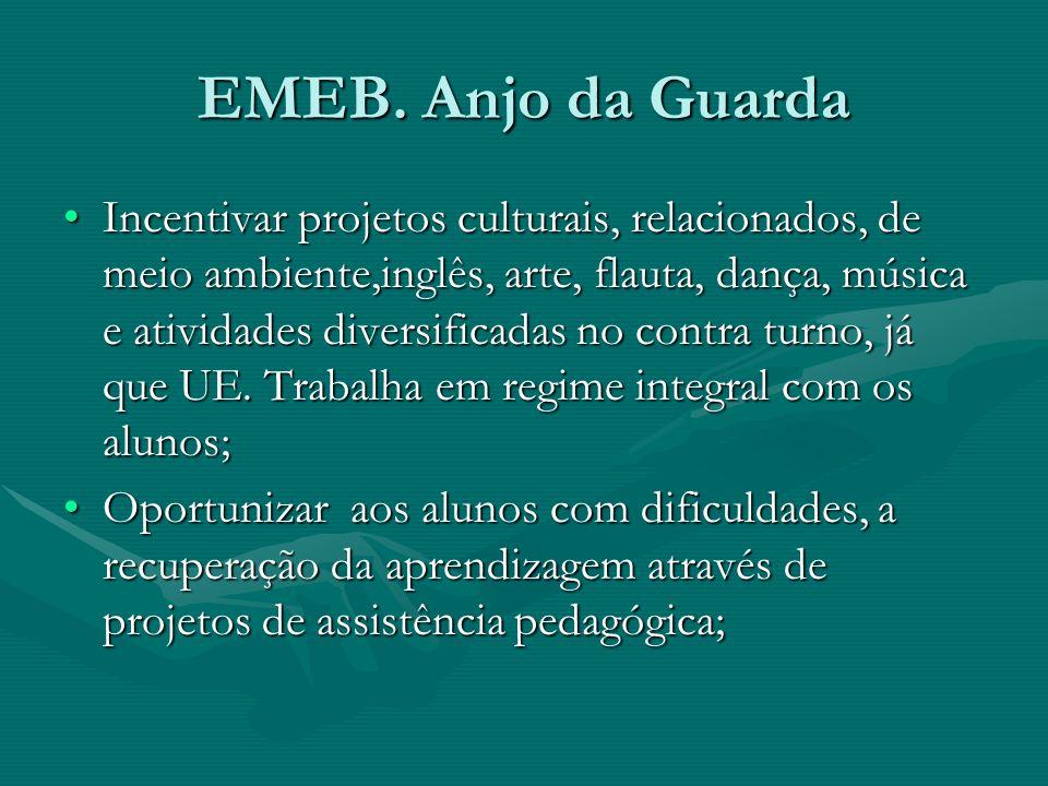EMEB. Anjo da Guarda Incentivar projetos culturais, relacionados, de meio ambiente,inglês, arte, flauta, dança, música e atividades diversificadas no