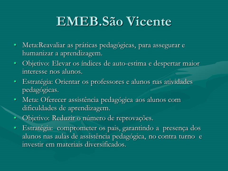 EMEB.São Vicente Meta:Reavaliar as práticas pedagógicas, para assegurar e humanizar a aprendizagem.Meta:Reavaliar as práticas pedagógicas, para assegu