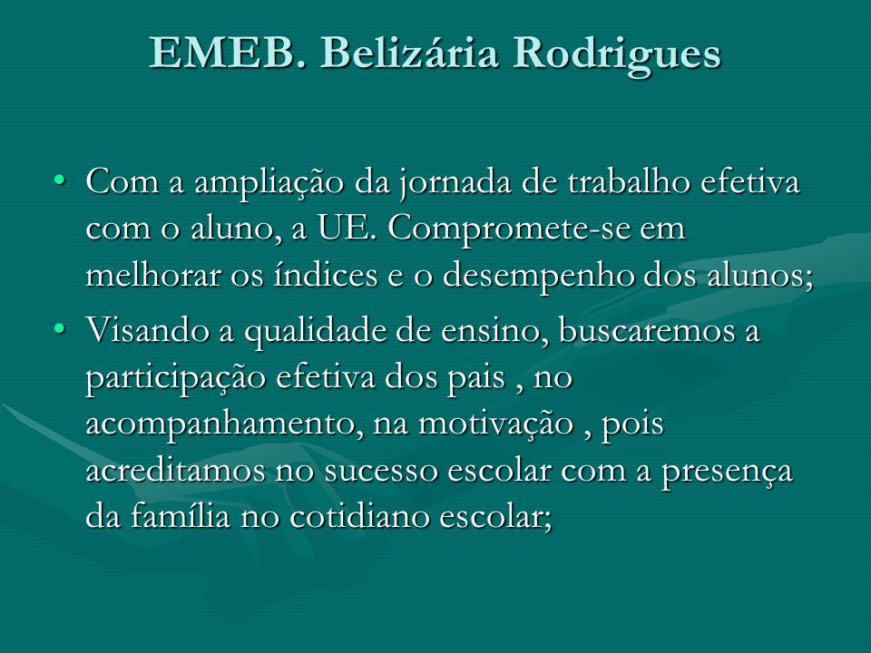 EMEB. Belizária Rodrigues Com a ampliação da jornada de trabalho efetiva com o aluno, a UE. Compromete-se em melhorar os índices e o desempenho dos al