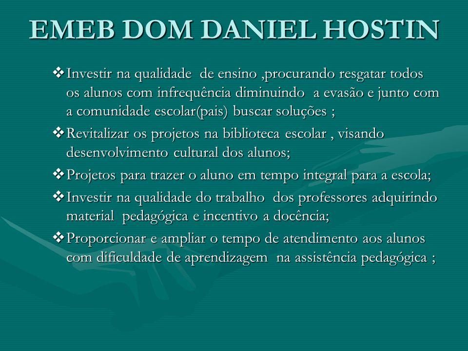 EMEB DOM DANIEL HOSTIN Investir na qualidade de ensino,procurando resgatar todos os alunos com infrequência diminuindo a evasão e junto com a comunida
