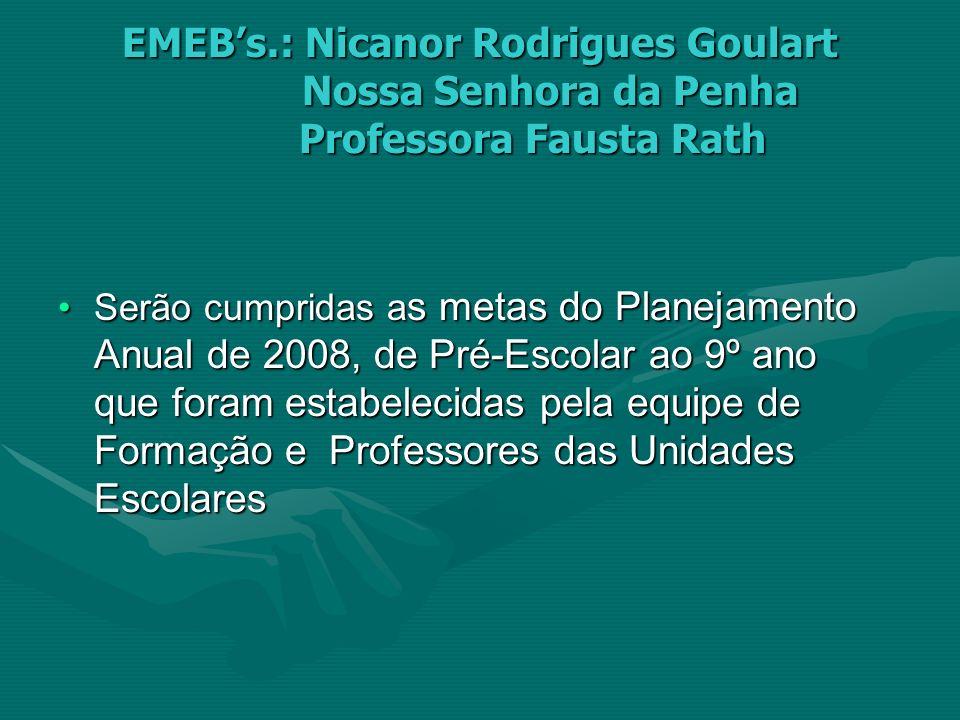 EMEBs.: Nicanor Rodrigues Goulart Nossa Senhora da Penha Professora Fausta Rath Serão cumpridas a s metas do Planejamento Anual de 2008, de Pré-Escola