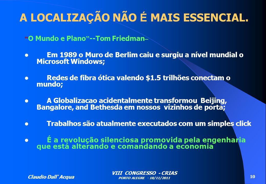 Claudio Dall' Acqua VIII CONGRESSO - CRIAS PORTO ALEGRE - 18/11/2011 10 A LOCALIZA Ç ÃO NÃO É MAIS ESSENCIAL. O Mundo e Plano --Tom Friedman – Em 1989