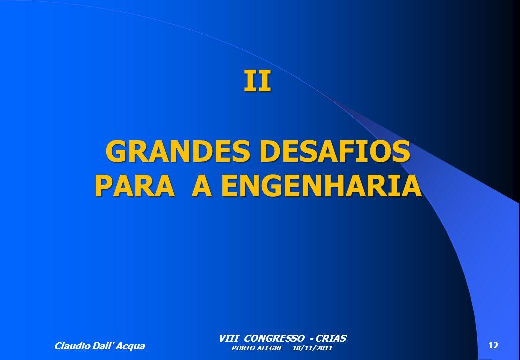 Claudio Dall' Acqua VIII CONGRESSO - CRIAS PORTO ALEGRE - 18/11/2011 12 II GRANDES DESAFIOS PARA A ENGENHARIA