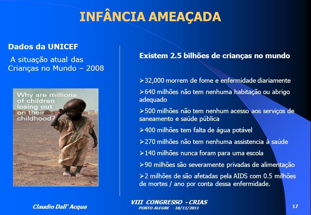 Claudio Dall' Acqua VIII CONGRESSO - CRIAS PORTO ALEGRE - 18/11/2011 17 Existem 2.5 bilhões de crianças no mundo 32,000 morrem de fome e enfermidade d