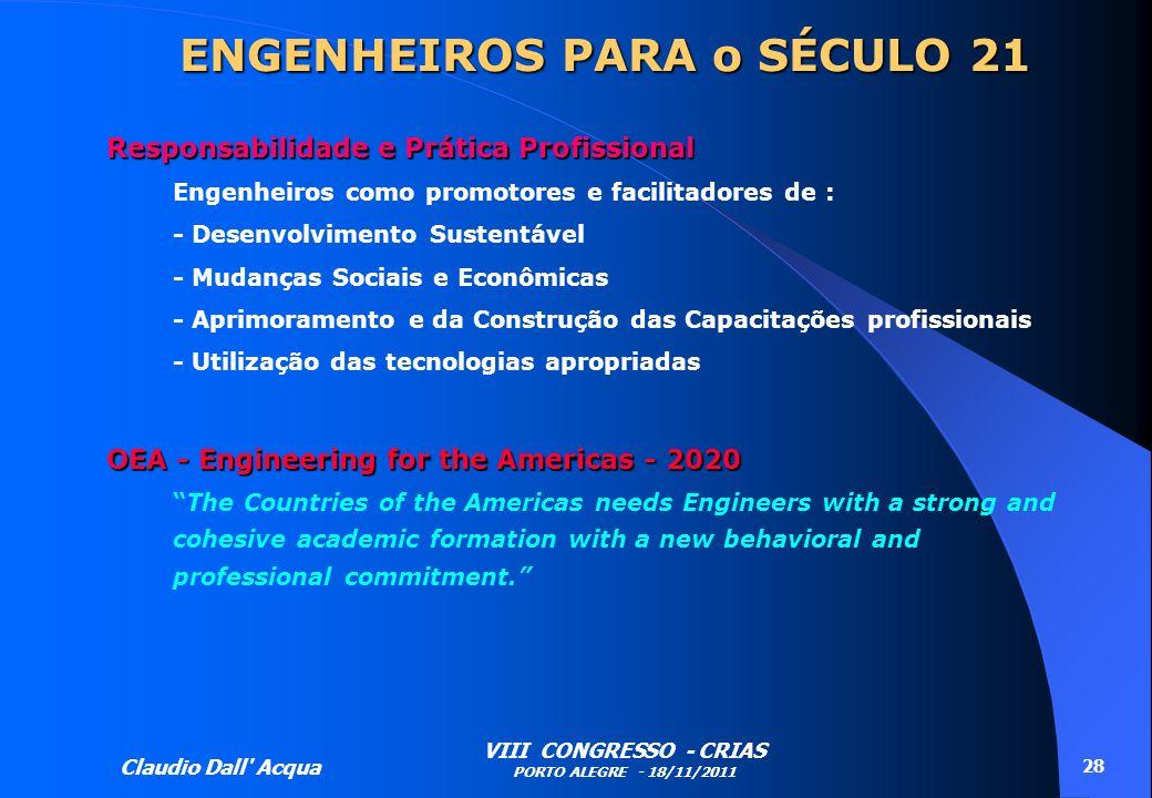 Claudio Dall' Acqua VIII CONGRESSO - CRIAS PORTO ALEGRE - 18/11/2011 28 ENGENHEIROS PARA o SÉCULO 21 Responsabilidade e Prática Profissional Engenheir