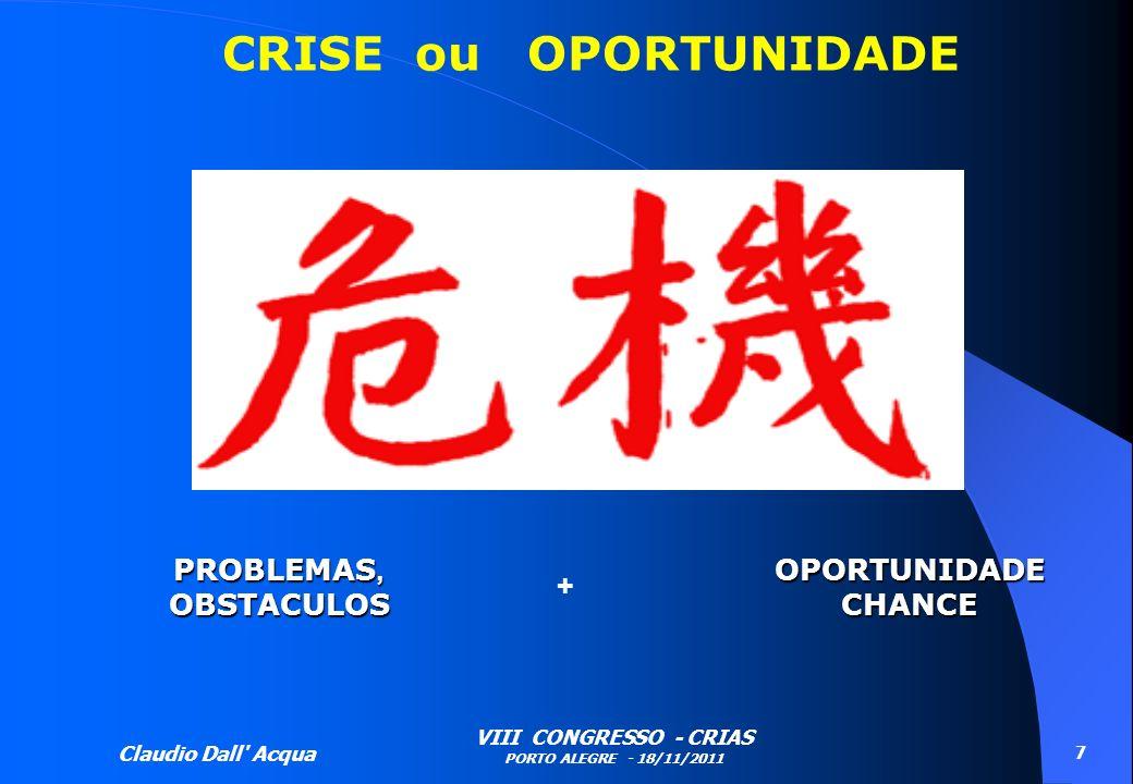 Claudio Dall' Acqua VIII CONGRESSO - CRIAS PORTO ALEGRE - 18/11/2011 7 PROBLEMAS, OBSTACULOSOPORTUNIDADECHANCE + CRISE ou OPORTUNIDADE
