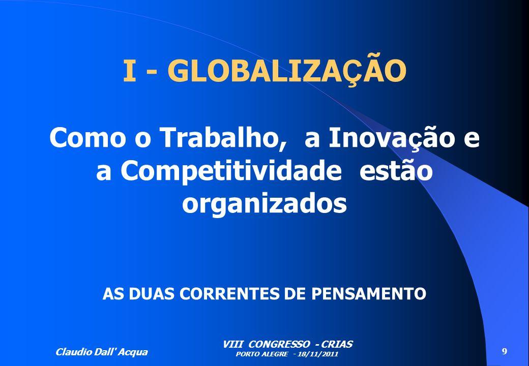 Claudio Dall' Acqua VIII CONGRESSO - CRIAS PORTO ALEGRE - 18/11/2011 9 I - GLOBALIZA Ç ÃO Como o Trabalho, a Inova ç ão e a Competitividade estão orga