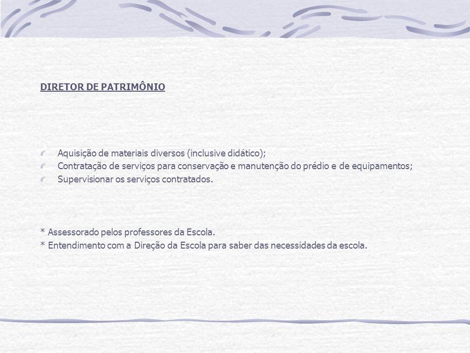DIRETOR DE PATRIMÔNIO Aquisição de materiais diversos (inclusive didático); Contratação de serviços para conservação e manutenção do prédio e de equip