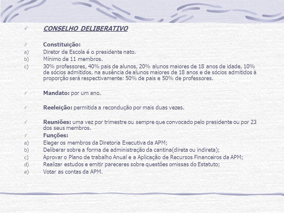 CONSELHO DELIBERATIVO Constituição: a) Diretor de Escola é o presidente nato. b) Mínimo de 11 membros. c) 30% professores, 40% pais de alunos, 20% alu