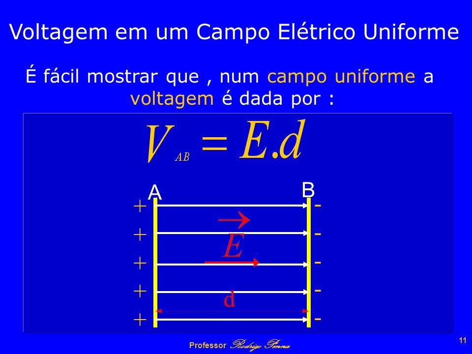 Professor Rodrigo Penna 10 A carga NEGATIVA tende a se deslocar dos pontos de menor para o maior potencial ++++++ A B - -q - - - - - -