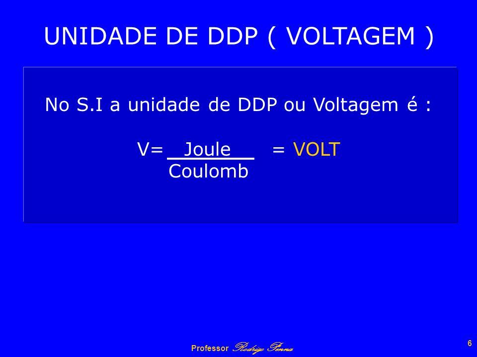 Professor Rodrigo Penna 5 DIFERENÇA DE POTENCIAL também é conhecida como DDP, Tensão Elétrica ou simplesmente Voltagem