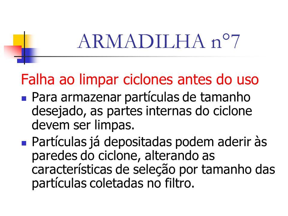 ARMADILHA n°7 Falha ao limpar ciclones antes do uso Para armazenar partículas de tamanho desejado, as partes internas do ciclone devem ser limpas.