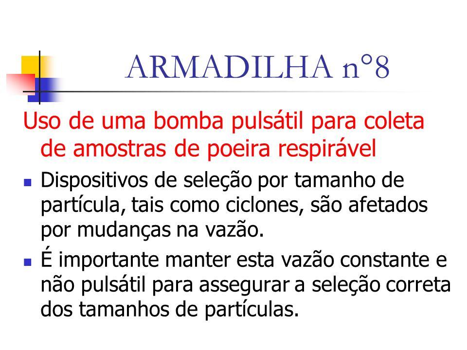 ARMADILHA n°8 Uso de uma bomba pulsátil para coleta de amostras de poeira respirável Dispositivos de seleção por tamanho de partícula, tais como ciclones, são afetados por mudanças na vazão.
