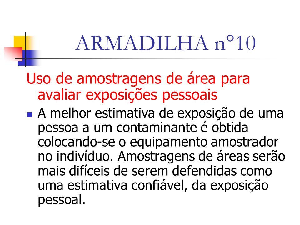 ARMADILHA n°10 Uso de amostragens de área para avaliar exposições pessoais A melhor estimativa de exposição de uma pessoa a um contaminante é obtida colocando-se o equipamento amostrador no indivíduo.