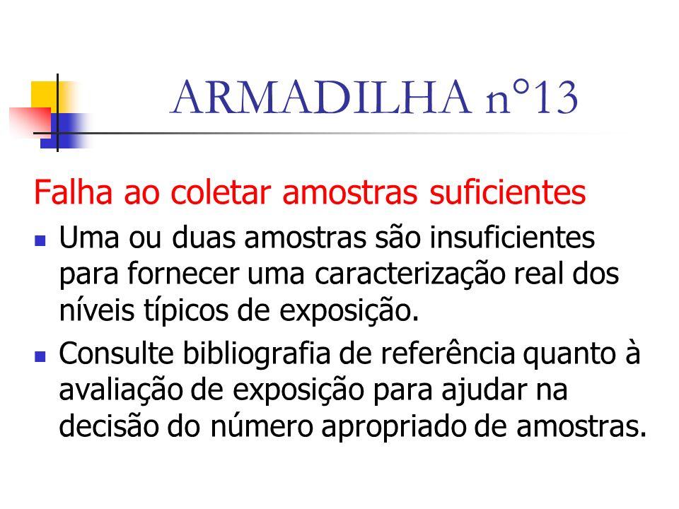 ARMADILHA n°13 Falha ao coletar amostras suficientes Uma ou duas amostras são insuficientes para fornecer uma caracterização real dos níveis típicos de exposição.