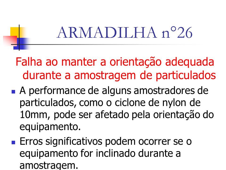 ARMADILHA n°26 Falha ao manter a orientação adequada durante a amostragem de particulados A performance de alguns amostradores de particulados, como o ciclone de nylon de 10mm, pode ser afetado pela orientação do equipamento.
