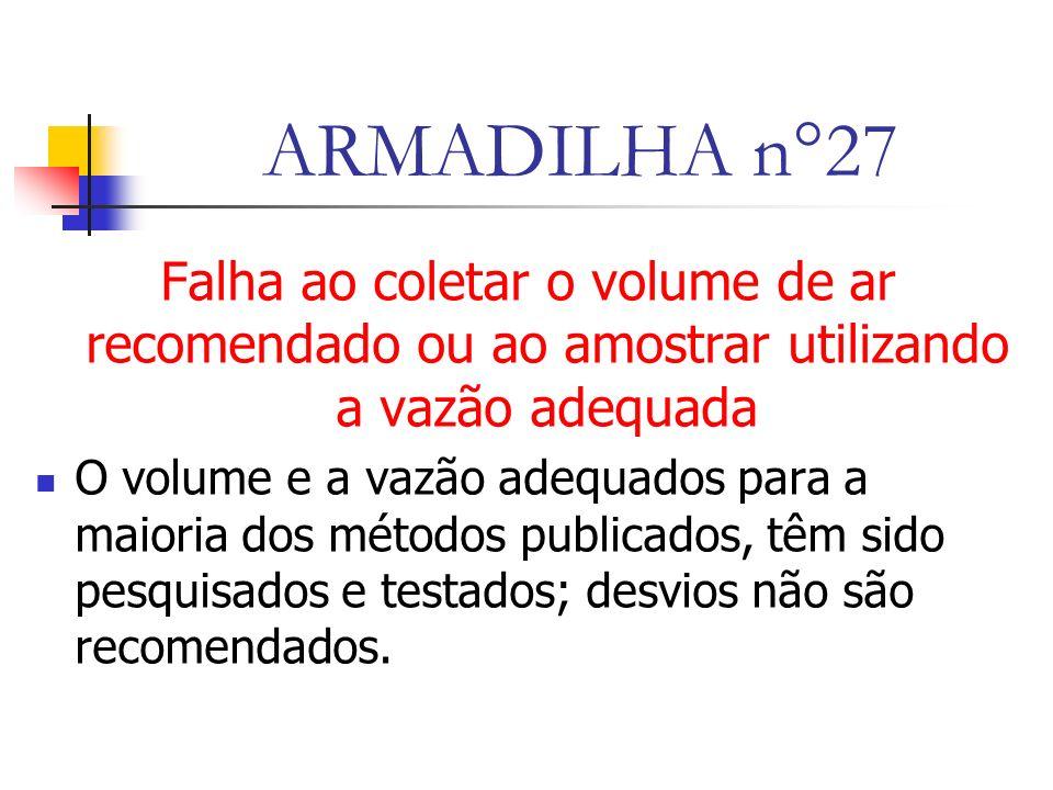ARMADILHA n°27 Falha ao coletar o volume de ar recomendado ou ao amostrar utilizando a vazão adequada O volume e a vazão adequados para a maioria dos métodos publicados, têm sido pesquisados e testados; desvios não são recomendados.
