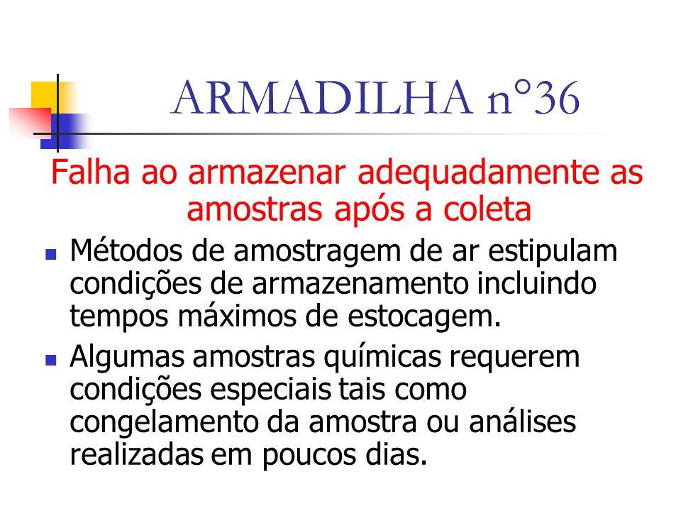 ARMADILHA n°36 Falha ao armazenar adequadamente as amostras após a coleta Métodos de amostragem de ar estipulam condições de armazenamento incluindo tempos máximos de estocagem.