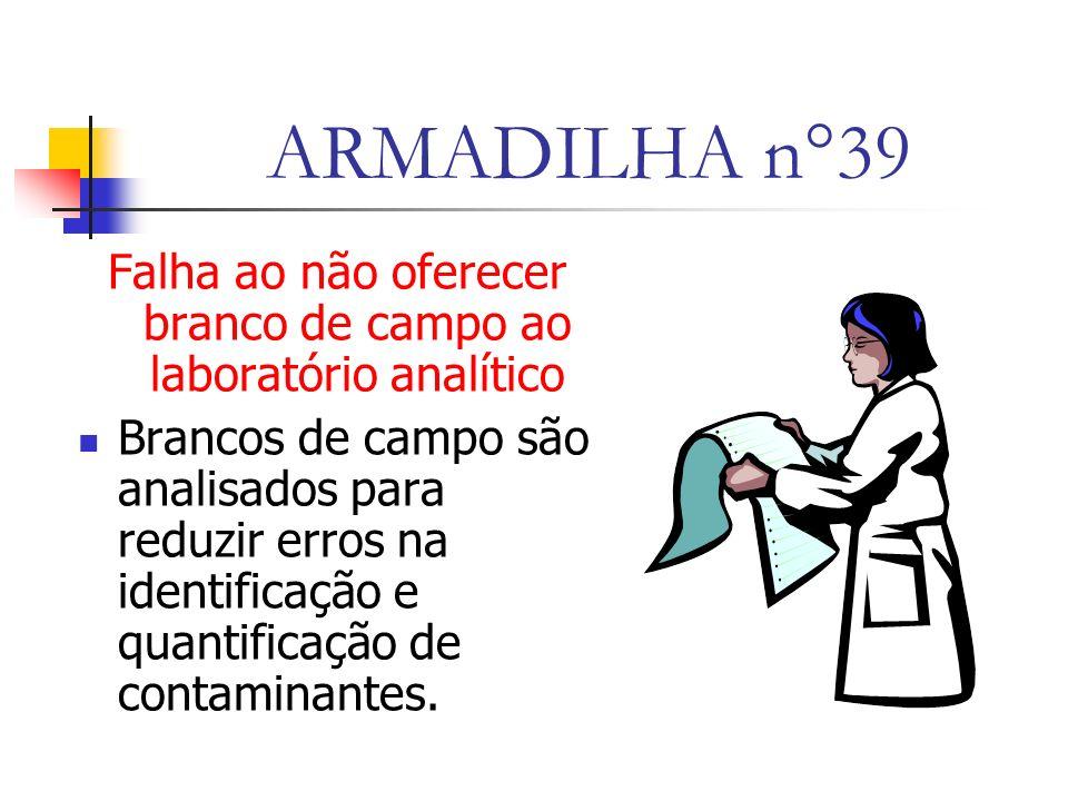 ARMADILHA n°39 Falha ao não oferecer branco de campo ao laboratório analítico Brancos de campo são analisados para reduzir erros na identificação e quantificação de contaminantes.