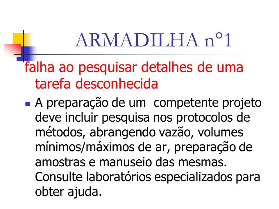 ARMADILHA n°1 falha ao pesquisar detalhes de uma tarefa desconhecida A preparação de um competente projeto deve incluir pesquisa nos protocolos de métodos, abrangendo vazão, volumes mínimos/máximos de ar, preparação de amostras e manuseio das mesmas.