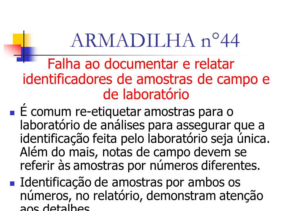 ARMADILHA n°44 Falha ao documentar e relatar identificadores de amostras de campo e de laboratório É comum re-etiquetar amostras para o laboratório de análises para assegurar que a identificação feita pelo laboratório seja única.