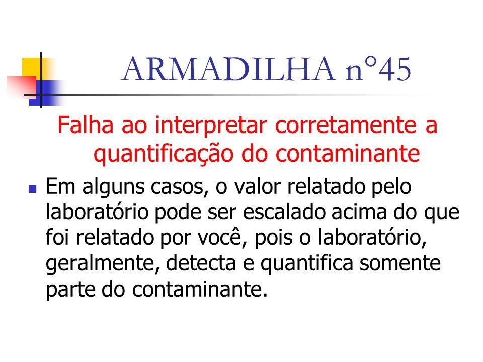 ARMADILHA n°45 Falha ao interpretar corretamente a quantificação do contaminante Em alguns casos, o valor relatado pelo laboratório pode ser escalado acima do que foi relatado por você, pois o laboratório, geralmente, detecta e quantifica somente parte do contaminante.