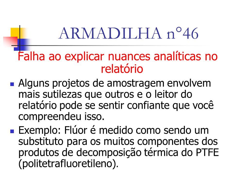 ARMADILHA n°46 Falha ao explicar nuances analíticas no relatório Alguns projetos de amostragem envolvem mais sutilezas que outros e o leitor do relatório pode se sentir confiante que você compreendeu isso.