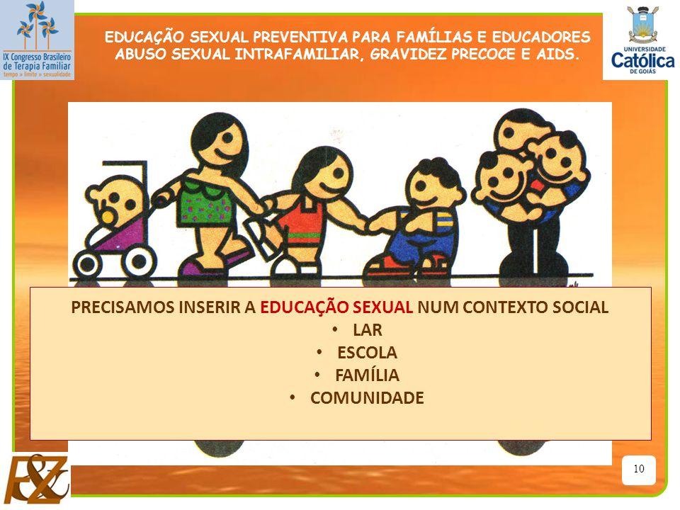 10 PRECISAMOS INSERIR A EDUCAÇÃO SEXUAL NUM CONTEXTO SOCIAL LAR ESCOLA FAMÍLIA COMUNIDADE EDUCAÇÃO SEXUAL PREVENTIVA PARA FAMÍLIAS E EDUCADORES ABUSO