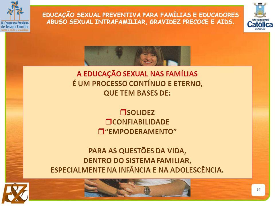 14 A EDUCAÇÃO SEXUAL NAS FAMÍLIAS É UM PROCESSO CONTÍNUO E ETERNO, QUE TEM BASES DE: r SOLIDEZ r CONFIABILIDADE r EMPODERAMENTO PARA AS QUESTÕES DA VI