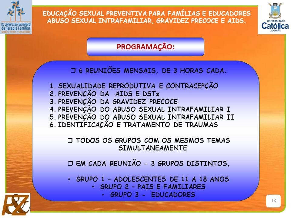 18 EDUCAÇÃO SEXUAL PREVENTIVA PARA FAMÍLIAS E EDUCADORES ABUSO SEXUAL INTRAFAMILIAR, GRAVIDEZ PRECOCE E AIDS. PROGRAMAÇÃO: r 6 REUNIÕES MENSAIS, DE 3