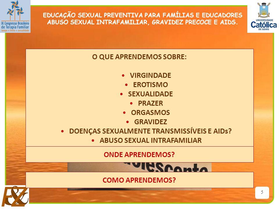 5 O QUE APRENDEMOS SOBRE: VIRGINDADE EROTISMO SEXUALIDADE PRAZER ORGASMOS GRAVIDEZ DOENÇAS SEXUALMENTE TRANSMISSÍVEIS E AIDs? ABUSO SEXUAL INTRAFAMILI