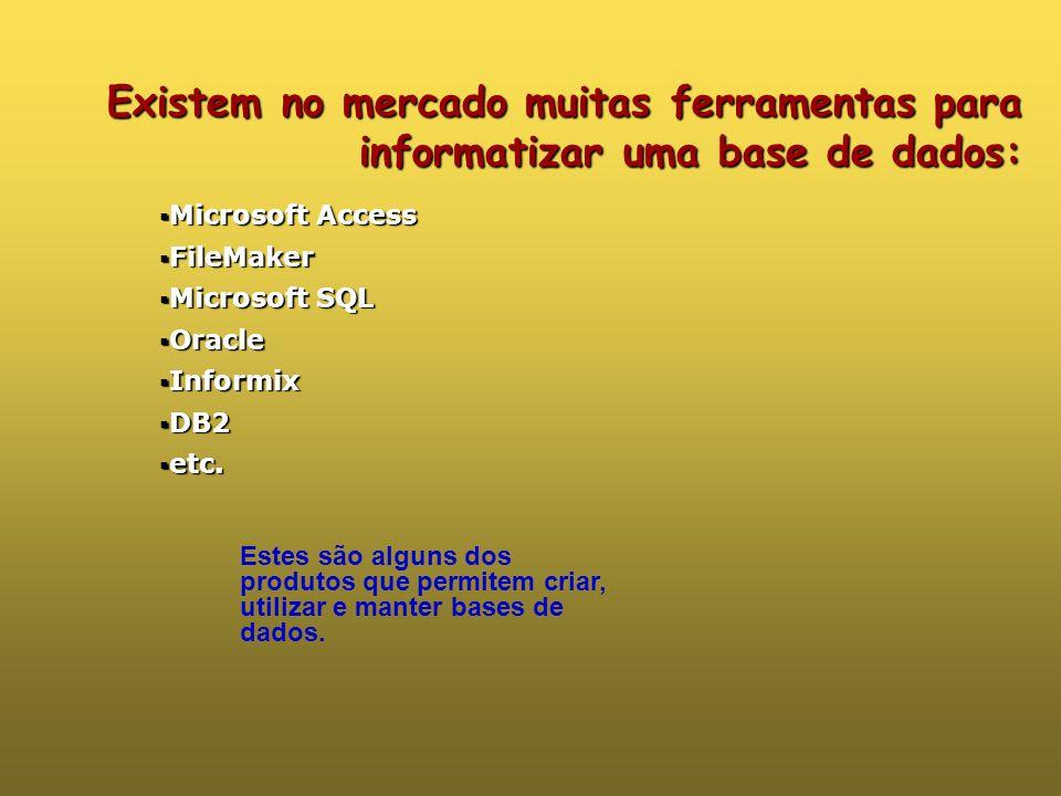 Existem no mercado muitas ferramentas para informatizar uma base de dados: Estes são alguns dos produtos que permitem criar, utilizar e manter bases de dados.