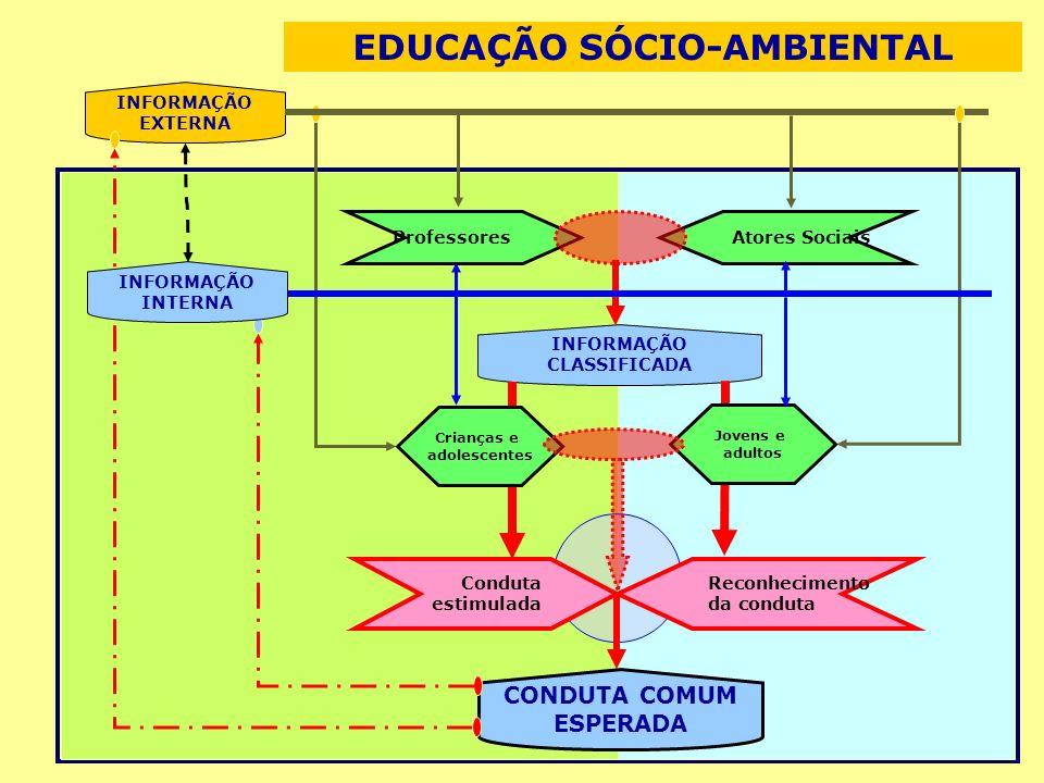 INFORMAÇÃO EXTERNA ProfessoresAtores Sociais INFORMAÇÃO CLASSIFICADA Conduta estimulada Crianças e adolescentes Reconhecimento da conduta Jovens e adultos CONDUTA COMUM ESPERADA INFORMAÇÃO INTERNA EDUCAÇÃO SÓCIO-AMBIENTAL