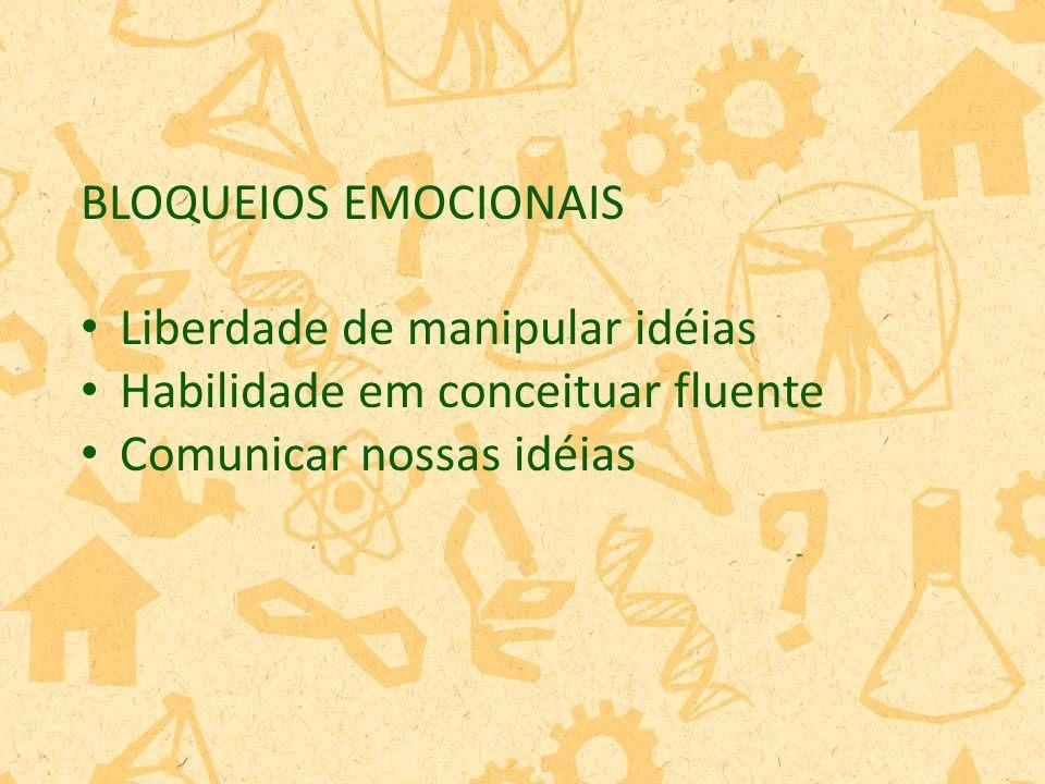 BLOQUEIOS EMOCIONAIS Liberdade de manipular idéias Habilidade em conceituar fluente Comunicar nossas idéias