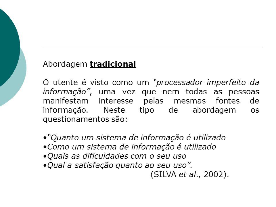 Abordagem tradicional O utente é visto como um processador imperfeito da informação, uma vez que nem todas as pessoas manifestam interesse pelas mesma