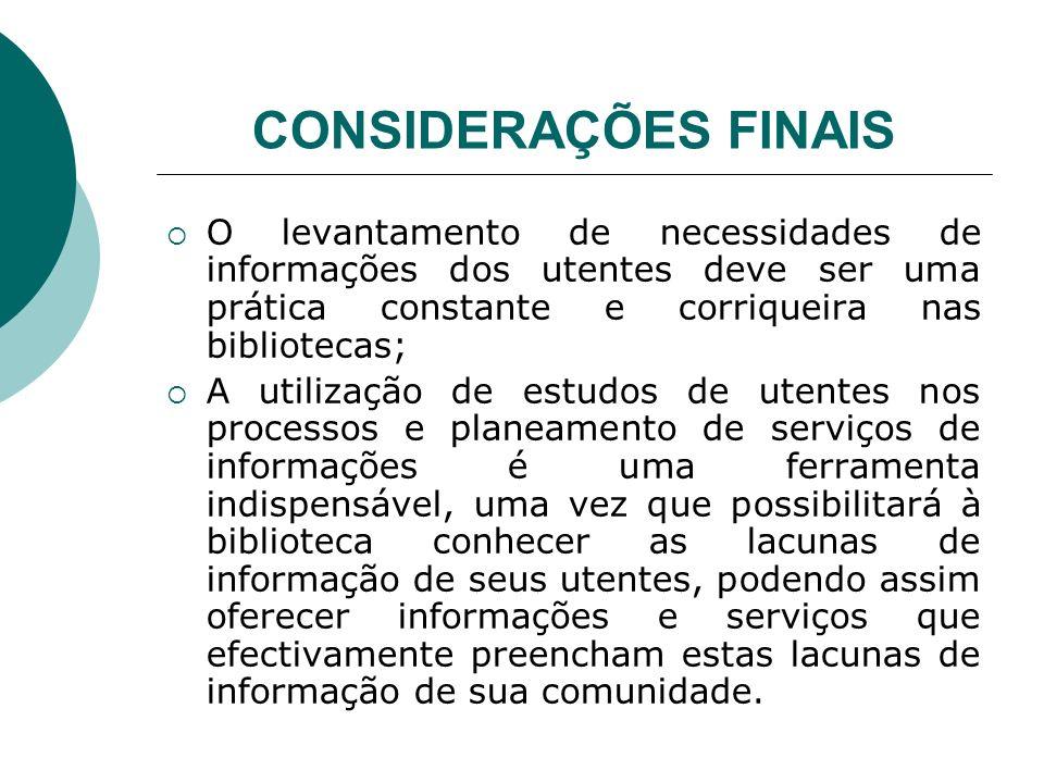 CONSIDERAÇÕES FINAIS O levantamento de necessidades de informações dos utentes deve ser uma prática constante e corriqueira nas bibliotecas; A utiliza