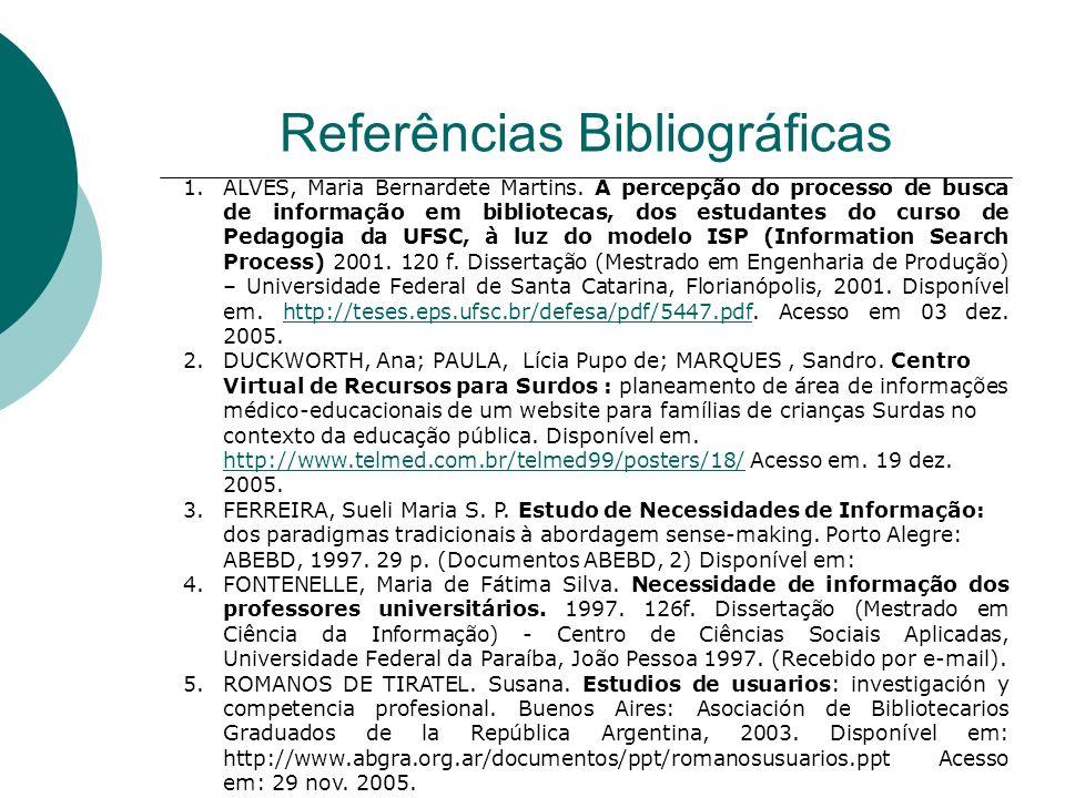 Referências Bibliográficas 1.ALVES, Maria Bernardete Martins. A percepção do processo de busca de informação em bibliotecas, dos estudantes do curso d