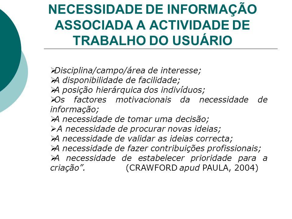 NECESSIDADE DE INFORMAÇÃO ASSOCIADA A ACTIVIDADE DE TRABALHO DO USUÁRIO Disciplina/campo/área de interesse; A disponibilidade de facilidade; A posição
