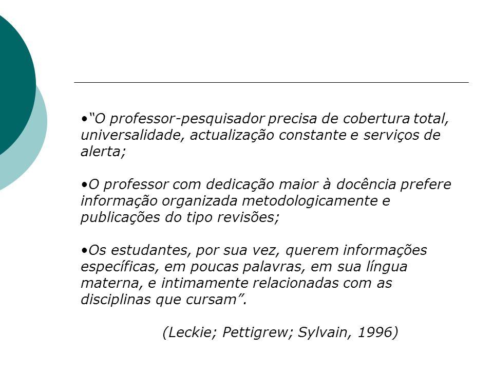 O professor-pesquisador precisa de cobertura total, universalidade, actualização constante e serviços de alerta; O professor com dedicação maior à doc