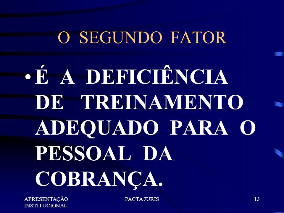 APRESENTAÇÃO INSTITUCIONAL PACTA JURIS12 O PRIMEIRO FATOR É A FALTA DE ENTENDIMENTO SOBRE O QUE DEVE SER A COBRANÇA.