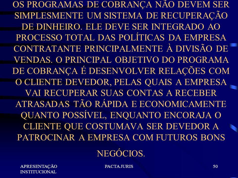 APRESENTAÇÃO INSTITUCIONAL PACTA JURIS49 OS MÉTODOS