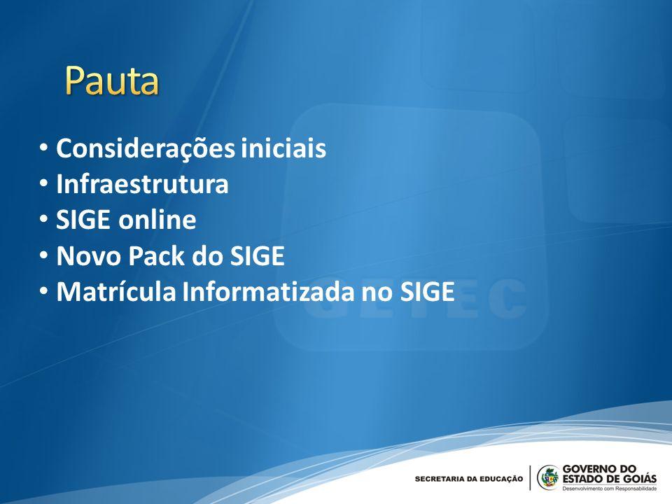 Considerações iniciais Infraestrutura SIGE online Novo Pack do SIGE Matrícula Informatizada no SIGE