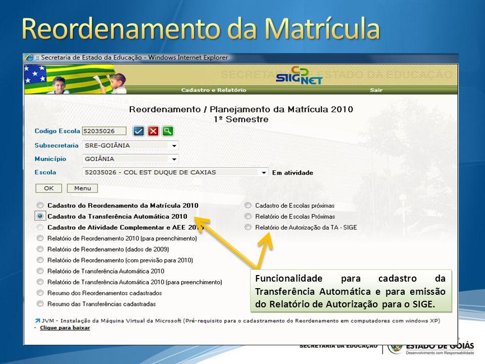 Funcionalidade para cadastro da Transferência Automática e para emissão do Relatório de Autorização para o SIGE.