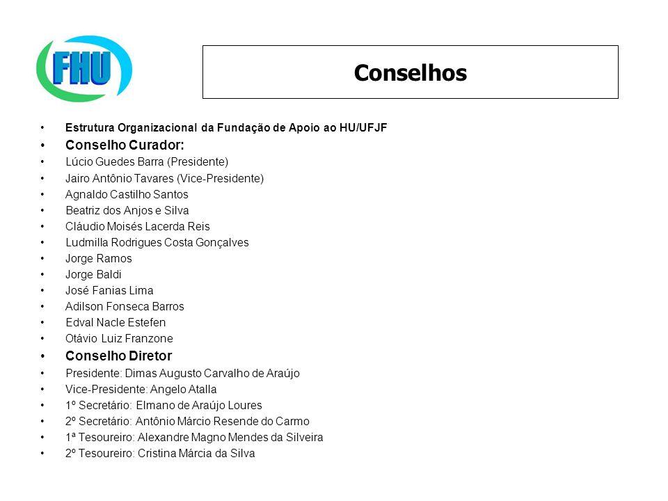 Estrutura Organizacional da Fundação de Apoio ao HU/UFJF Conselho Curador: Lúcio Guedes Barra (Presidente) Jairo Antônio Tavares (Vice-Presidente) Agn
